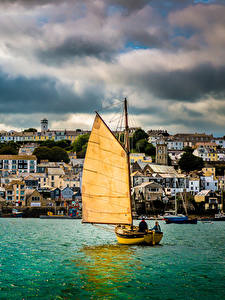 Фото Берег Дома Лодки Парусные Англия Великобритания Cornwall, Falmouth Harbour Города