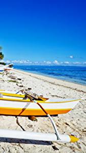 Обои Филиппины Тропики Побережье Лодки Пляж