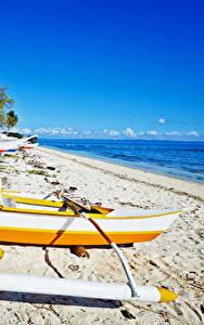 Обои Филиппины Тропический Побережье Лодки Пляжи
