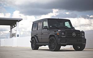 Обои для рабочего стола Mercedes-Benz Гелентваген Черная G63 машина