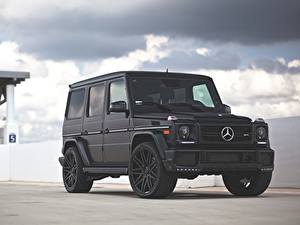 Картинки Mercedes-Benz Гелентваген Черная G63 машина