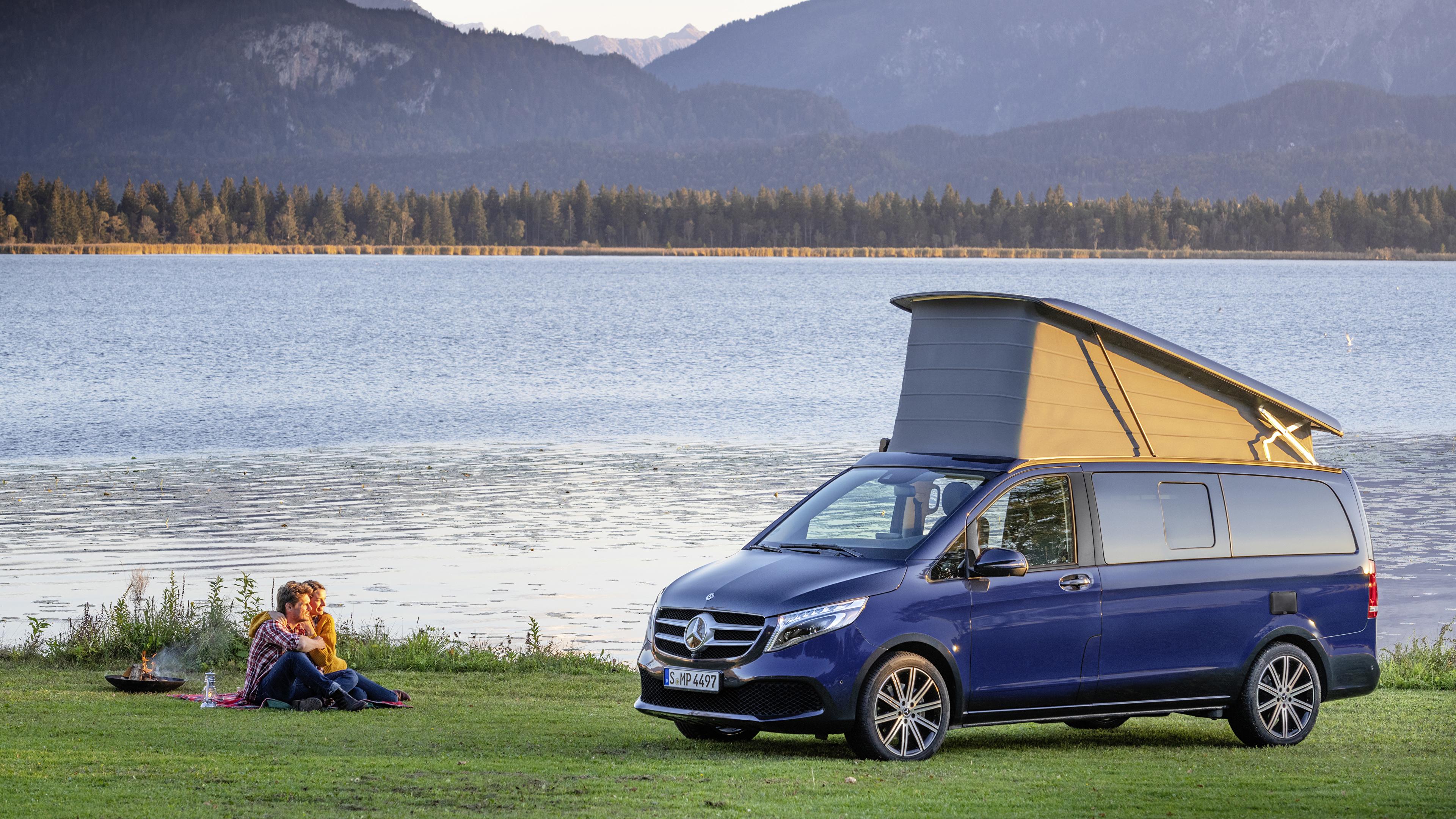 Фото Mercedes-Benz Пикник 2019 Marco Polo Worldwide Синий авто Металлик 3840x2160 Мерседес бенц пикнике синих синие синяя машина машины автомобиль Автомобили
