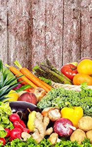 Обои Фрукты Овощи Много Доски Продукты питания