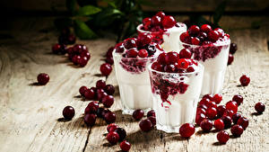 Фотография Сладости Мороженое Клюква Стакана Пища