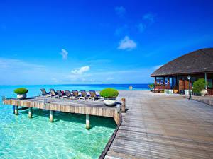 Обои Мальдивы Курорты Море Здания Природа