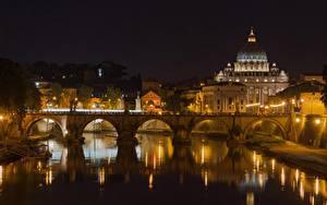 Фотографии Рим Италия Река Мосты Собор Ночью Уличные фонари Отражении Tiber River, St. Peter's Basilica Города