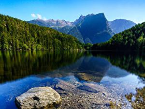 Картинка Австрия Река Горы Лес Камни Oetztal Tyrol