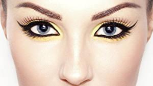 Фотографии Крупным планом Глаза Ресница Макросъёмка Лицо Макияж Взгляд Нос Красивая девушка