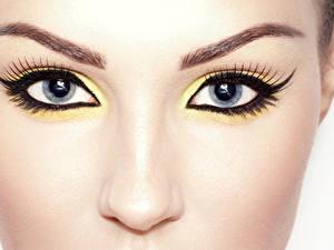 Фотографии Крупным планом Глаза Ресница Макросъёмка Лицо Макияж Взгляд Нос Красивые Девушки