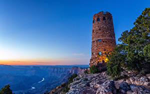 Фотография США Гранд-Каньон парк Парки Маяк Горы Рассвет и закат