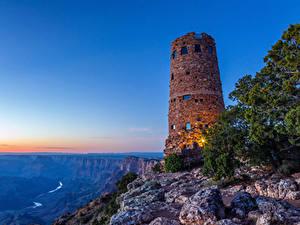 Фотография США Гранд-Каньон парк Парки Маяки Горы Рассвет и закат