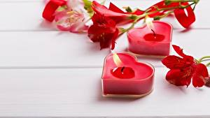 Обои День святого Валентина Пламя Свечи Сердце