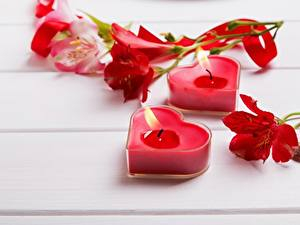 Обои День святого Валентина Пламя Свечи Серце