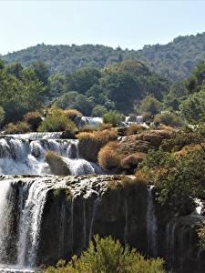 Обои Хорватия Водопады Парки Речка Krka national Park, river Krka