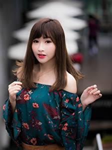 Обои Азиатки Боке Поза Руки Шатенки Волосы Девушки