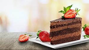 Фотография Пирожное Клубника Шоколад Пища