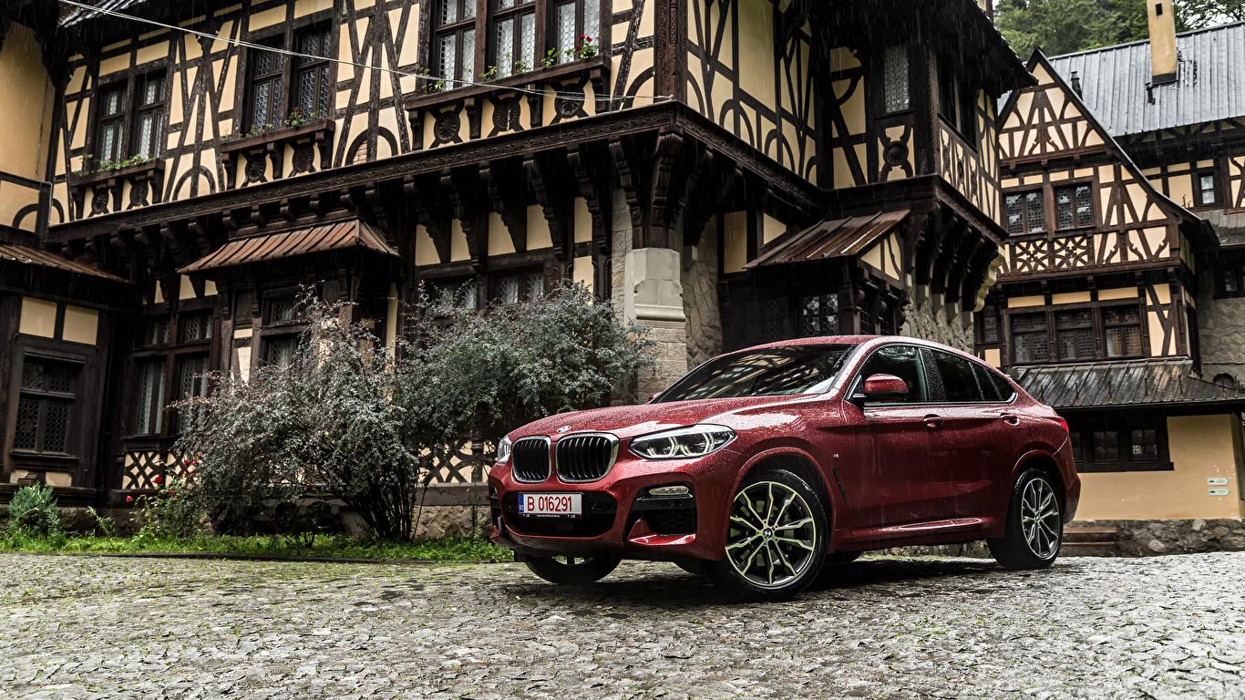 Фотография BMW 2018 X4 xDrive25d M Sport Worldwide бордовая Металлик автомобиль 1366x768 БМВ Бордовый бордовые темно красный авто машина машины Автомобили