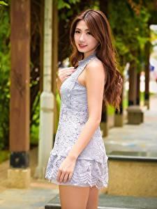 Картинка Азиатка Боке Шатенка Платья Руки Смотрят молодые женщины