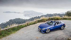 Обои Mercedes-Benz Синяя Кабриолет Металлик 2016 SLC 300 Авто