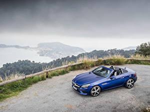 Обои Mercedes-Benz Синий Кабриолет Металлик 2016 SLC 300 Авто