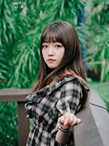 Фотографии Азиатки Боке Взгляд Милые Девушки
