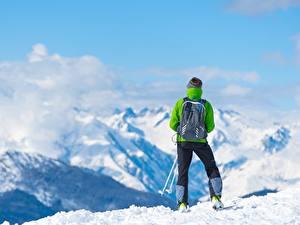 Обои Гора Лыжный спорт Снега Вид сзади Рюкзак Природа