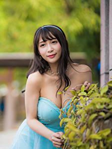 Фотография Азиаты Брюнетка Платье Декольте Размытый фон Смотрит молодые женщины