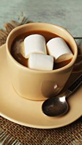 Фотография Горячий шоколад Маршмэллоу Чашка Блюдце Ложка Пища