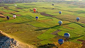 Фотографии Турция Парки Поля Аэростат Cappadocia Природа