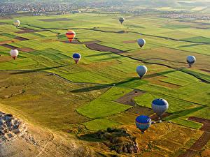 Фотографии Турция Парк Поля Аэростат Cappadocia Природа