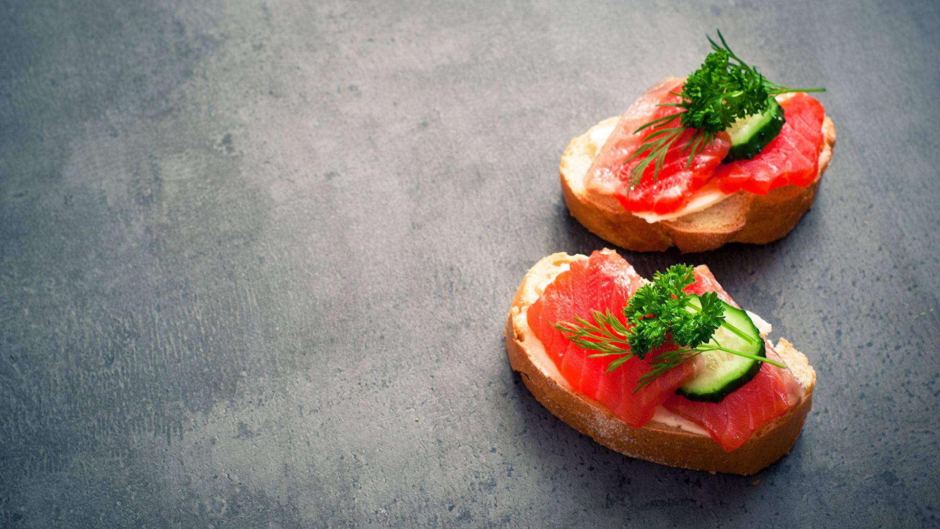 Картинка Двое Хлеб Рыба Бутерброды Пища Овощи 1920x1080 2 вдвоем Еда Продукты питания