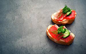 Картинка Бутерброды Рыба Хлеб Овощи 2 Еда