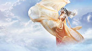 Обои Небо Облако Платье Блондинок