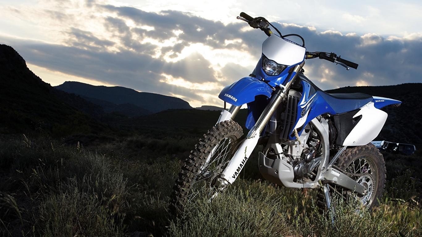 Картинки Ямаха 2007-10 WR450F мотоцикл 1366x768 Yamaha Мотоциклы