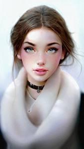 Картинки Красивые Шатенка Фэнтези Девушки