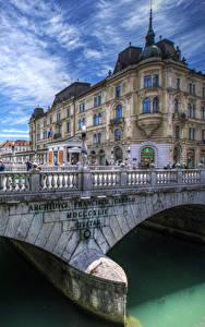Обои Словения Дома Река Мост Любляна Забор Города
