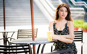 Фотография Азиатки Боке Сидящие Кафе Платья Шатенки Стола