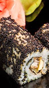 Картинки Морепродукты Суши Крупным планом Икра Рис Пища Еда