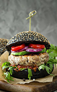 Картинки Быстрое питание Гамбургер Булочки Мясные продукты Помидоры Пища