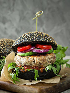 Картинки Быстрое питание Гамбургер Булочки Мясные продукты Помидоры