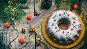 Картинка Рождество Выпечка Сахарная пудра Доски Шарики Шишки Еда