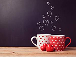 Обои День всех влюблённых Чашка 2 Сердечко Доски Пища