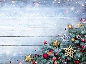 Фотографии Рождество Доски Шаблон поздравительной открытки На ветке Звездочки Шарики