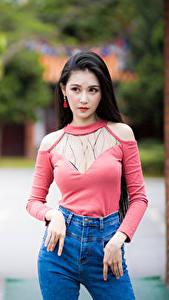Фото Азиатки Боке Поза Взгляд девушка
