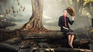 Фото Камни Осень Азиаты Ствол дерева Сидящие Брюнетка Шляпе Тумане Девушки