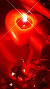 Картинка День всех влюблённых Свечи Сердечко Ленточка