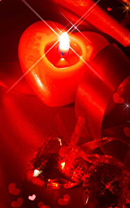 Картинка День всех влюблённых Свечи Серце Лента