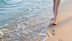 Фотография Воде Песок Ног Следы Природа