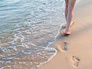 Фотография Вода Песок Ноги Природа