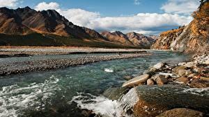 Фотография Аляска Речка Камень Горы Штаты Denali National Park Природа